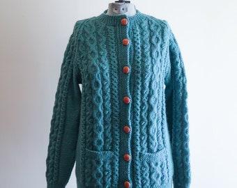 Unique GREEN Irish WOOL cardigan sweater sz. Medium