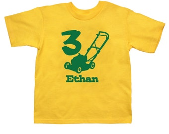Lawnmower Birthday Shirt - any age and name - pick your colors!