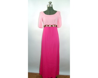 1960s gown pink silk color blocked empire waist embroidered flowers scoop neck Size S