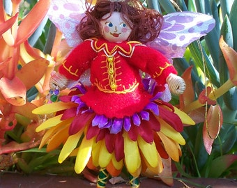 Spring Butterfly Flower Girl Felt Art Doll, Felt Ornament