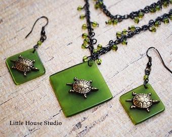 Turtle Necklace, Sea Turtle, Turtle Pendant, Turtle Jewelry, Sea Turtle Necklace,  Tortoise Necklace, Turtle Earrings, Necklace Set