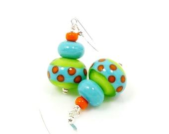 Lime and Turquoise Blue Earrings, Lampwork Earrings, Polka Dot Earrings, Glass Earrings, Glass Bead Earrings, Southwestern Earrings