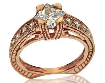 Filigree Ring, 14K Rose Gold Filigree Engagement Ring, Victorian Ring, Rose Gold Engagement Ring, Unique Rings, Fall Wedding, Wedding Ring