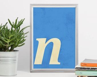 Letter N Printable Art - DIN A4 Letter N Printable Art, 8x10 Lower Case Letter N, Halftone Letter Printable