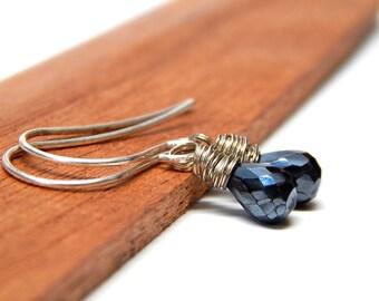 Sterling Silver Black Spinel Jewelry, Mystic Black Jewelry, Black Teardrop Earrings Gift, Tiny Black Drop Earrings, Dainty Dangle Earrings