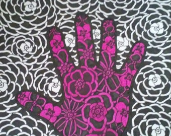 Magenta Hand with Black and White Flowers Design Background Pen and Ink Drawing