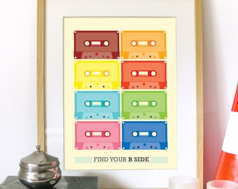 CASSETTE VINTAGE retro Print Poster typography with tape illustration multi color vintage cassette poster art print wall art decor house
