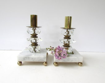 Vintage Mid Century Candlesticks - Brass - Cut Glass and Marble Candlesticks - Made in Italy - Hollywood Regency Candlesticks -