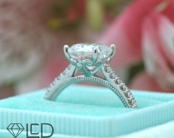 The Catherine 2 carat Oval Cut Forever One Moissanite and Diamond Vintage Inspired Engagement Ring