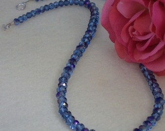 Light Sapphire & Purple Crystal Rondelle Beaded Necklace  FREE SHIPPING