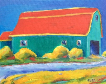 Little Wise Barn, Oil, 7x5""