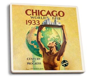 Chicago World's Fair 1933 (Villa) Vintage Ad (Set of 4 Ceramic Coasters)