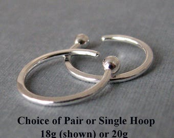 Open Nose Ring Hoop, Fine Silver 20g or 18g, 8mm, 9mm or 10mm - 1 Pair or a Single Hoop