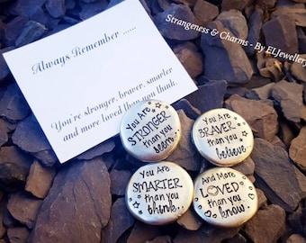 Hand Stamped 'Stronger, Braver, Smarter, Loved' Pewter Hug Stones Set,Friends,Pebbles, Metal Jewellery, Gifts, Pocket Gifts, Stamped Stones.