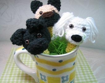 Puppy Pencil Toppers Crochet Pattern - PDF File