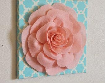 """Nursery Wall Decor -Light Pink Rose on Blue Tarika 12 x12"""" Canvas Wall Art- Flower Wall Art"""