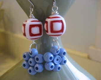 Boucles perles Nautical, vintage lucite, sterling silver