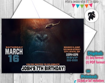 King Kong invitation, digital or printed