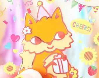Fox Forest Party Enamel  Pin - Woodland Animal Birthday Hard Enamel Pin
