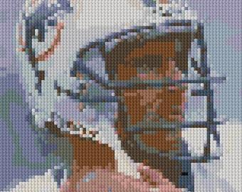 Portrait of Dan Marino counted Cross Stitch Pattern detailed digital download