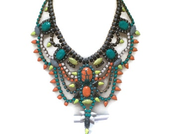 BIRDS of PARADISE turquoise, white, grey and yellow  hand painted rhinestone statement bib necklace