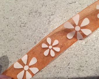 orange Organza Ribbon with white 15mm flowers