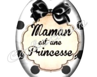 1 cabochon 30mm x 40mm glass, mother's day, MOM, your black and white