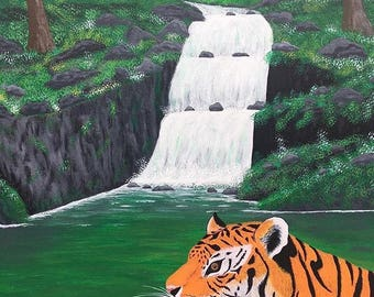 Tiger in water.Acrylic on canvas panel ,painting .51cm x 41cm