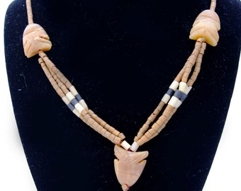 Blonde Onyx and Jasper Beads, Natural and Handcut, Fish Necklace
