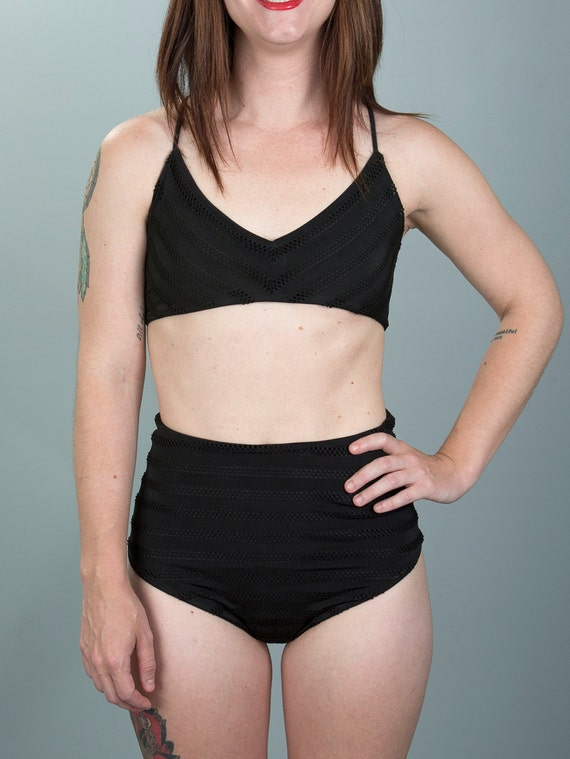 high waisted bikini bottoms with laser cut stripes size S M L