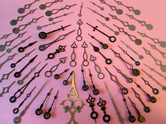 67 Assorted Vintage Mixed Metals Clock Hands for your Clock Projects, Jewelry Making, Steampunk Art and Etc..