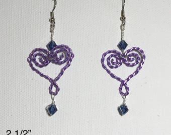 Heart-Shaped Spiral Wire Earrings
