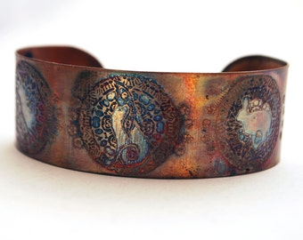 Etched Copper Cuff  Bracelet - Moongazing hare design - medium size