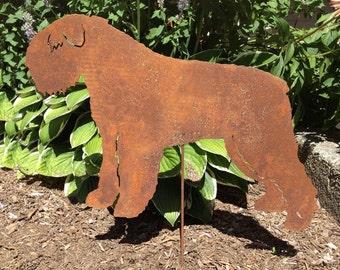 Bouvier des Flandres Garden Stake or Wall Hanging / Garden Art / Pet Memorial / Shadow / Cut Out / Metal / Silhouette / Dog / Rusty / Wall