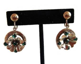 Vintage Lucky Dangle Earrings - gold tone metal, emerald green stones, horseshoe, 4 leaf clover, screw-post - costume jewelry, no markings
