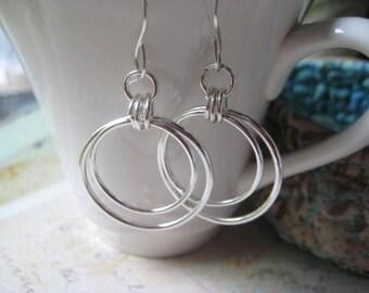 Hoop Earrings, Double Hoops, Hoop Style, Fine Silver, Sterling Silver, candies64