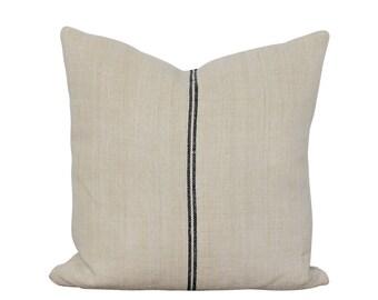 Grain Sack Pillow Cover - Black Stripe Pillow - Vintage Hemp Fabric - Farmhouse Decor - Stripe Throw Pillow