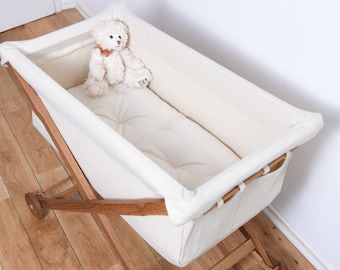 KootaCradle entirely of Solid Oak Wood and Lambswool /  Wool-filled Mattress included