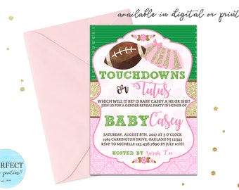 Touchdowns or Tutus Gender Reveal Invitation, Football and Tutu Gender Reveals