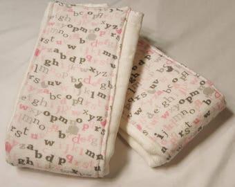 Alphabet Pink Burp Cloths