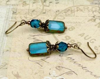 Victorian Earrings, Teal Earrings, Blue Earrings, Czech Glass Beads, Antique Gold Earrings, Unique Earrings, Womens Earrings, Gifts for Her