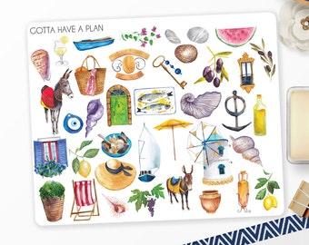 Planner Stickers Watercolor Mediterranean Variety for Erin Condren, Happy Planner, Filofax, Scrapbooking