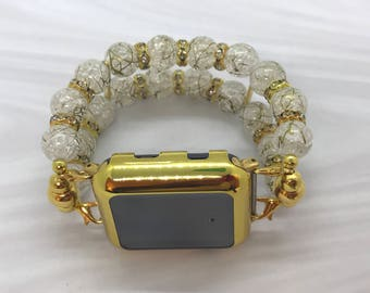 Gold and White Apple Watch band - 38MM - 42MM - Apple Watch Bands - Apple Watch Band Women
