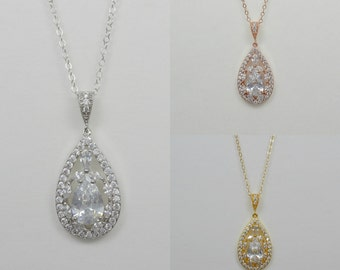 Bridal Cubic Zirconia Crystal Tear Drop Necklace, Wedding Jewelry, Rose Gold, Silver, Yellow Gold, Amelia - Will Ship in 1-3 Business Days