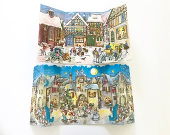 TWO Vintage Christmas Advent Calendars Fold Out Village Scenes Angels Glitter Accents Made in West Germany