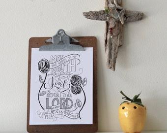 Psalm 19:14 Printable Bible Verse Art Print 8x10 Digital Wall Art Gift