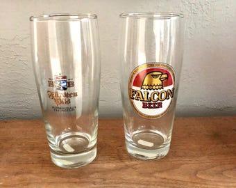 Vintage Budweiser Budvar,  Falcon Beer, and  Hofbrauhaus Traunstein Beer Pint Glasses