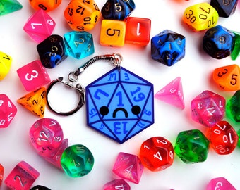 D20 Dice Keychain, Sad Frowning Critical Fail Key Chain, Geeky & Nerdy Gamer Gift for Dungeons and Dragons (DND), Kawaii Emoticon Face