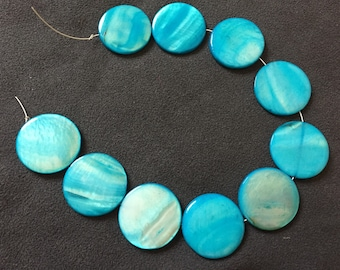 10 row shuffleboard beads mother of Pearl round blue TURQUOISE 25 mm/cuentas concha madreperla, mother of pearl beads, Mermaid, sailor, earrings