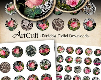 1 inch (25mm) and 1.5 inch size circles DAMASK ROSES Digital Collage Sheets Printable Images for pendants magnets bezel settings ArtCult
